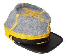 Civil War Cs Cavalry Major's Leather Peak kepi, Grey/Yellow Band 3 rows braids