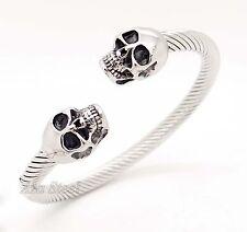 Unisex Skull 316L Stainless Steel Cable Cuff Biker Bracelet