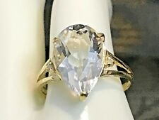 10K YELLOW GOLD 4.0 CARAT NATURAL WHITE TOPAZ & DIAMOND RING+RING BOX  SIZE 6.75