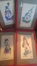 LOT OF 4 Vintage LILA NICHOLS New Orleans Artist SAD CLOWNS Signed And Dated
