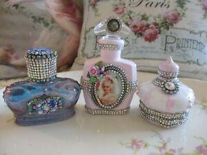 Shabby Chic - Set of Three French Style Bottles