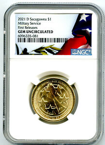 2021 D $1 SACAGAWEA NGC GEM UNCIRCULATED MILITARY SERVICE DOLLAR FIRST RELEASES