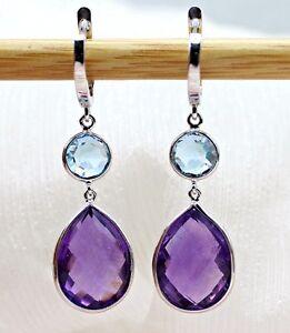 Amethyst Sky Blue Topaz Double Drop Dangling Fine Earrings 925 Sterling Silver