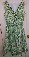 Dressbarn Green & White Tropical Floral Sleeveless Lined Dress size 4