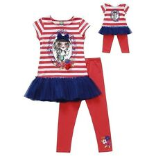 DOLLIE & ME STRIPED DRESS LEGGING SET Sz 7 MATCHING AMERICAN GIRL DOLL DRESS NEW