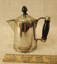 VTG ANTIQ CHILD'S TOY POLISHED TIN WATER TEA COFFEE POT FLIP LID WOOD HANDLE