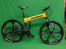 "26""x18"" hummer folding mountain bike bicycle 21 speed magnesium wheel, yellow"