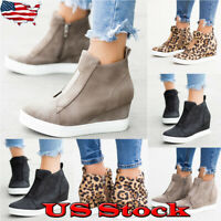 Womens Fashion High Top Platform Sneakers Wedge Shoes Casual Zipper Ankle Boots