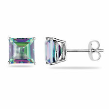 Amour 10k White Gold Princess-Cut Exotic Green Topaz Stud Earrings