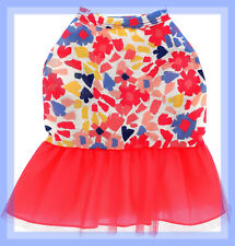 Top Paw Red Pink Blue Yellow Flowers Fluffy Tulle Skirt Dog Dress S