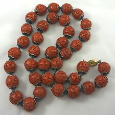 Vintage Chinese Export ENAMEL CAPS Carved Cinnabar Longevity Bead Necklace 30""