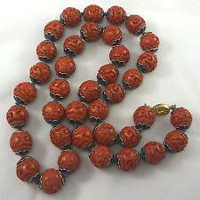 "Vintage Chinese Export ENAMEL CAPS Carved Cinnabar Longevity Bead Necklace 30"""