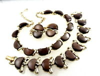 Vintage Coro Lucite Moonglow Necklace Bracelet Earrings SET Parure