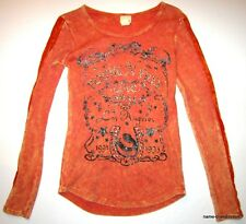 DAYTRIP Buckle Juniors XS Orange Washed Top SHIRT Lace Long Sleeves Bling BUCKLE