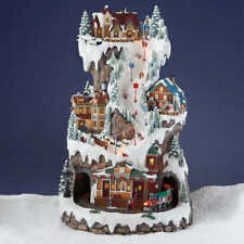 "NEW LARGE Christmas 20"" Winter Ski Light up Music Village Tower Train Musical"