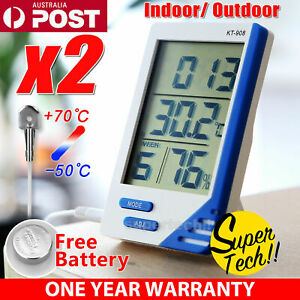 2x INDOOR OUTDOOR HYGROMETER THERMOMETER TEMPERATURE HUMIDITY METER DIGITAL