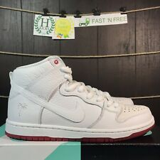 pretty nice 23077 3237f Nike SB Zoom Dunk High Pro QS Kevin Bradley White Red Palm AH9613 116 Size 9