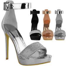 Womens Ladies Sparkly Diamante Platforms Stilettos High Heels Party Sandals Size