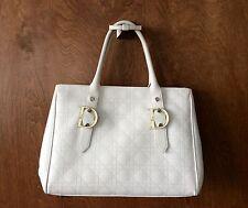 Auth CHRISTIAN DIOR Paris  Cannage Stitch Shoulder Bag White Leather 01B00015