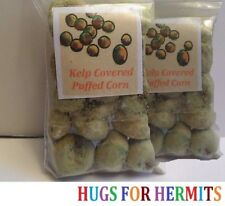 Hermit Crab Food TWO BAGS ORGANIC Non GMO KELP COVERED CORN PUFFS 2x3 inch bags