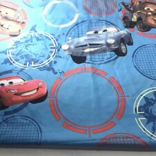 Vtg Cars Twin Bed Flat Sheet Blue Lightning McQueen Wheels Disney Pixar 66x96
