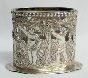 ANTIQUE19th CENTURY GERMAN RETICULATED .800 SILVER TOOTHPICK HOLDER WITH CHERUBS