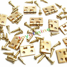 20pcs Mini Metal Hinges with Nails For 1/12 Miniature Furniture Dollhouse