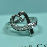 Tiffany &Co Picasso 18kt White Gold Solid Diamond Loving Heart Ring Sizable, Box