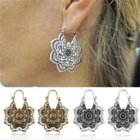 Vintage Silver Gypsy Indian Tribal Ethnic Hoop Dangle Mandala Earrings Boho Gift