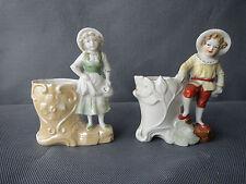 Lot de 2 statuettes porcelaine biscuit  vide poche art populaire old French