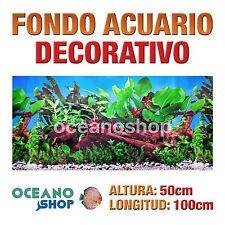 FONDO 100x50cm ACUARIO DECORATIVO VINILO PLANTAS Y TRONCO CALIDAD D423