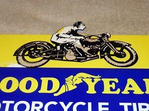 """VINTAGE """"GOODYEAR MOTORCYCLE TIRES"""" DIE-CUT RIDER 12"""" METAL GASOLINE & OIL SIGN!"""