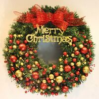 New Christmas Wreath 40/50cm Pine Garland With Balls Wall Hanging Decoration