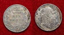 SIX PENCE 1909 EDOARDO VII GRAN BRETAGNA ARGENTO