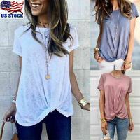 Womens Summer Shirts Cotton Blouse Casual Loose O Neck T-shirt Short Sleeve Tops