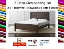 Unbranded Satin Solid Pattern Fitted Sheets