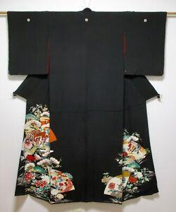 JAPANESE KIMONO SILK ANTIQUE TOMESODE / CRANE & PINE / GOSYOGURUMA / VINTAGE
