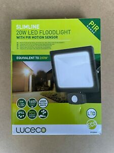 Luceco Slimline 20w Led Floodlight/Security Light with PIR Motion Sensor - New