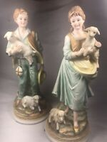 Ethan Allen Porcelain Boy and Girl Holding Lambs 3211B Japan