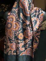 Vintage Black Orange Paisley Silk Shawl Wrap Scarf