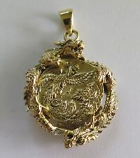 "JAPANESE DESIGNS ""DRAGON & PHOENIX"" GOLD BRASS SILVER PENDANT"