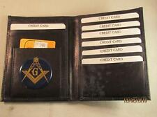 MASON MASONIC BLACK LEATHER BIFOLD PASSPORT WALLET CARD HOLDER NEW