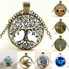 Punk Steampunk Life of tree Dragon Retro Cabochon Glass Pendant Chain Necklace