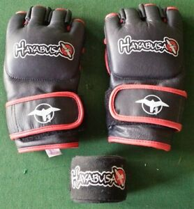 HAYABUSA Pro MMA Gloves M Medium 4oz - Red Black Mixed Martial Arts Gloves NICE