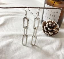Fashion Women Gold Silver Rectangle Geometric Long Hollow Chain Dangle Earrings