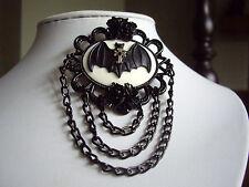 Gotico Nero Pipistrello Cameo Croce Rose Spilla Distintivo Cravatta jabot TIE PIN