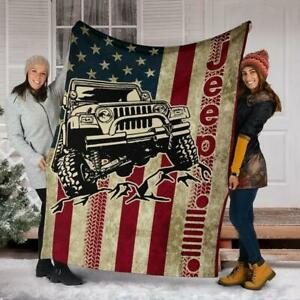 Soft Jeep Vintage Fleece, Quilt Winter Blanket Print in USA