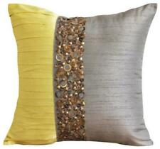 22x22 inch Couch Pillowcase Silk Luxury Light Grey, Pintuck - Yellow Treasures