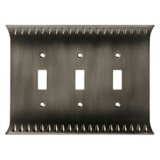 Brainerd Wadsworth Triple Switch Toggle Cover Wall Plate Heirloom Silver
