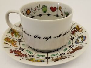 VTG FORTUNE TELLING~ASTROLOGY/ZODIAC CUP & SAUCER~JAPAN~INTL COLLECTOR GUILD~EUC